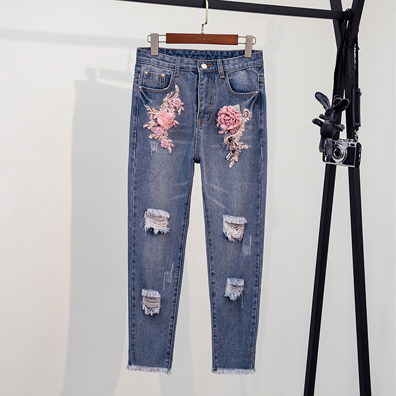 High Waist Ripped Skinny Pencil Jeans Woman Plus Size Embroidery Floral Mom Jeans Ladies Women Jeans Pants Denim Jeans Femme