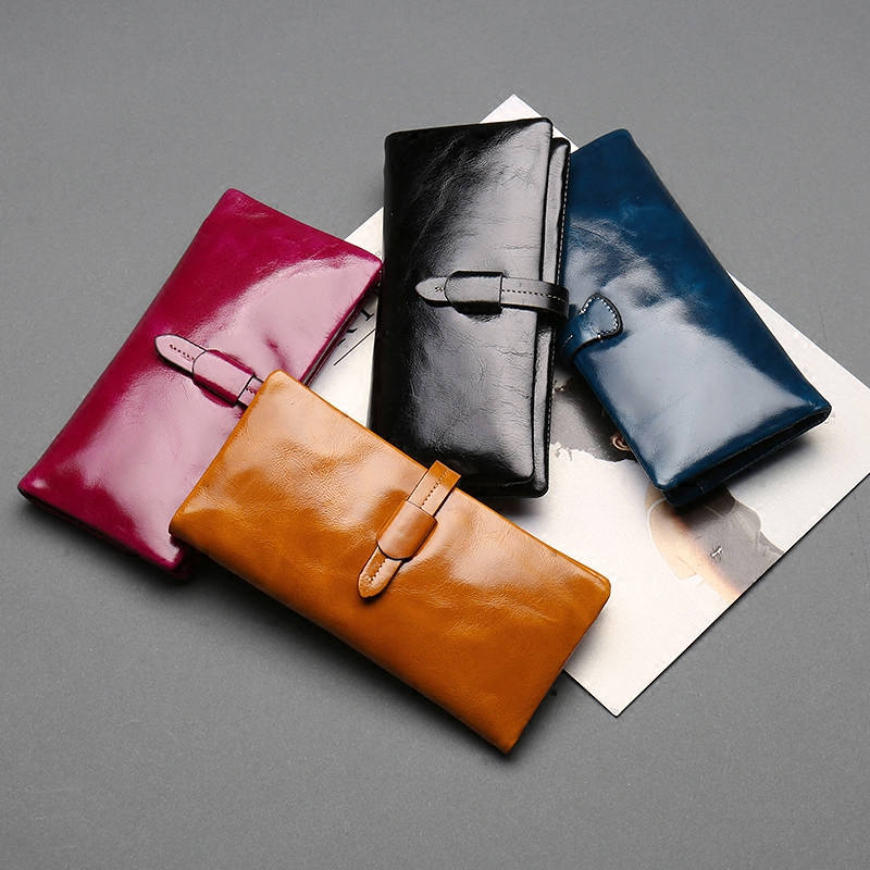 Women Vintage Oil Wax Soft Genuine Leather Wallet Long Section Coin Purse Card Money Pack Lady Drawstring Bags Hand Clutch Bag women hand woven cross design chain long section handbag card wallet purse