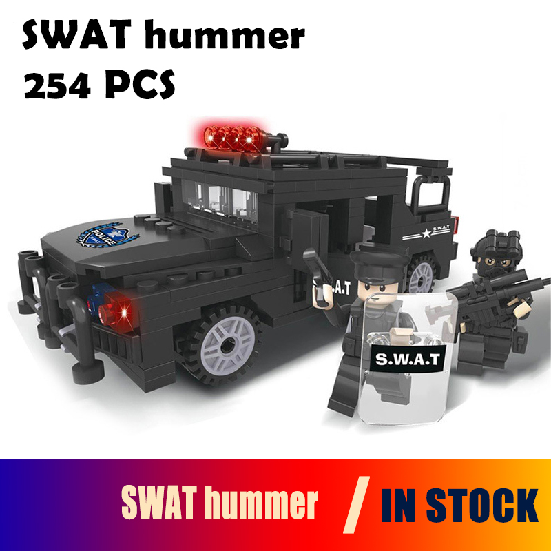 Model building blocks Police station SWAT hummer car soldiers Military Series 3D compatible with lego city Boy Toy hobbies Gift