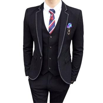 2019 Men Suit 3 Piece Set Business Wedding Men Suit Jacket with Vest and Pant Slim Elegant mens suits Blazer Asia size S - XXXL