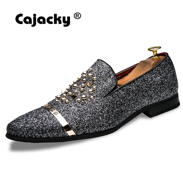 403e60609b Cajacky Luxury Brand Men Dress Shoes Diamond Loafers Slip On Rhinestone  Party Wedding Shoes Silver Black Fashion Mens Loafers
