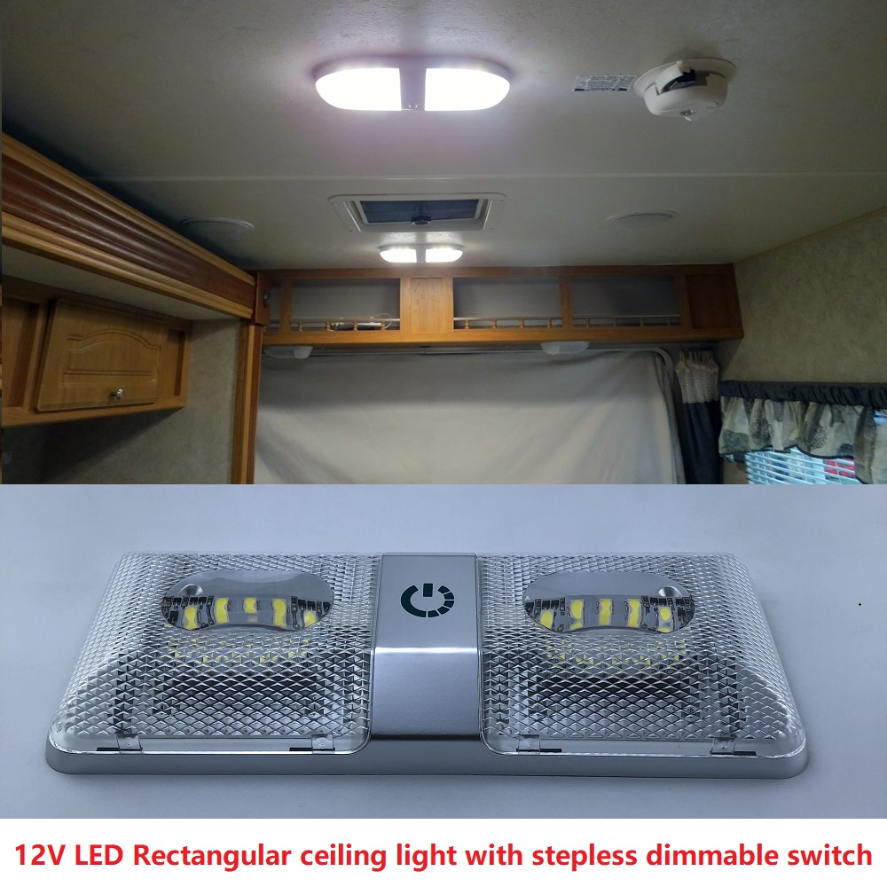 6W Dual Rectangular Ceiling Light With Touch Function Dimmer Switch 12v DC Boat/Marine Roof Lamp Interior Spotlight RVs Caravans