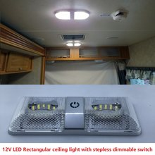 6W Dual Rectangular Ceiling Light with Touch Function Dimmer Switch 12v DC Boat/Marine Roof Lamp Interior Spotlight RVs Caravans(China)