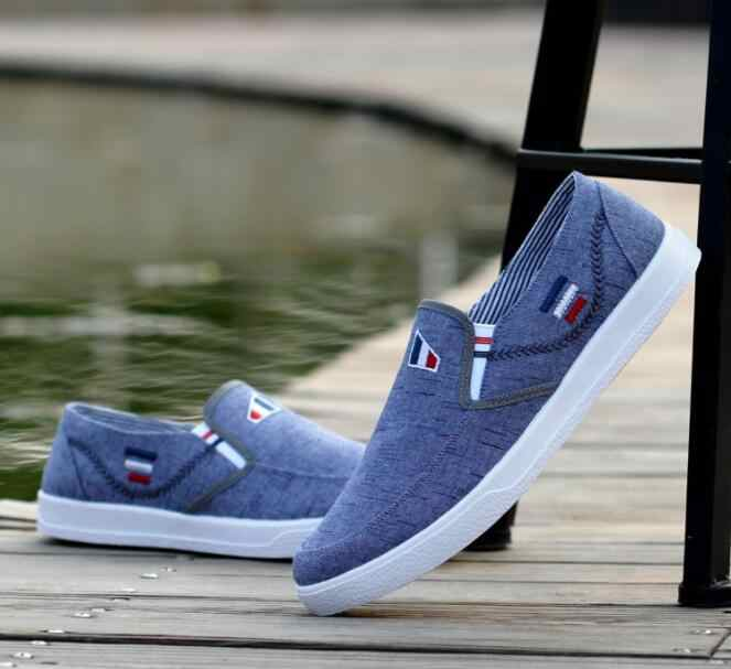 2019 New Men's Shoes Canvas shoe male summer tide shoe lazy person deodorant recreational shoe breathes one foot to pedal plank