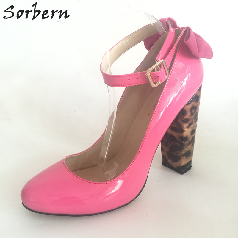 Sorbern Fuchsia Leopard Chunky High Heels Round Toe Ankle Straps Women Pump Shoes Size US14 Bowknot Custom Colors Shiny PU #111
