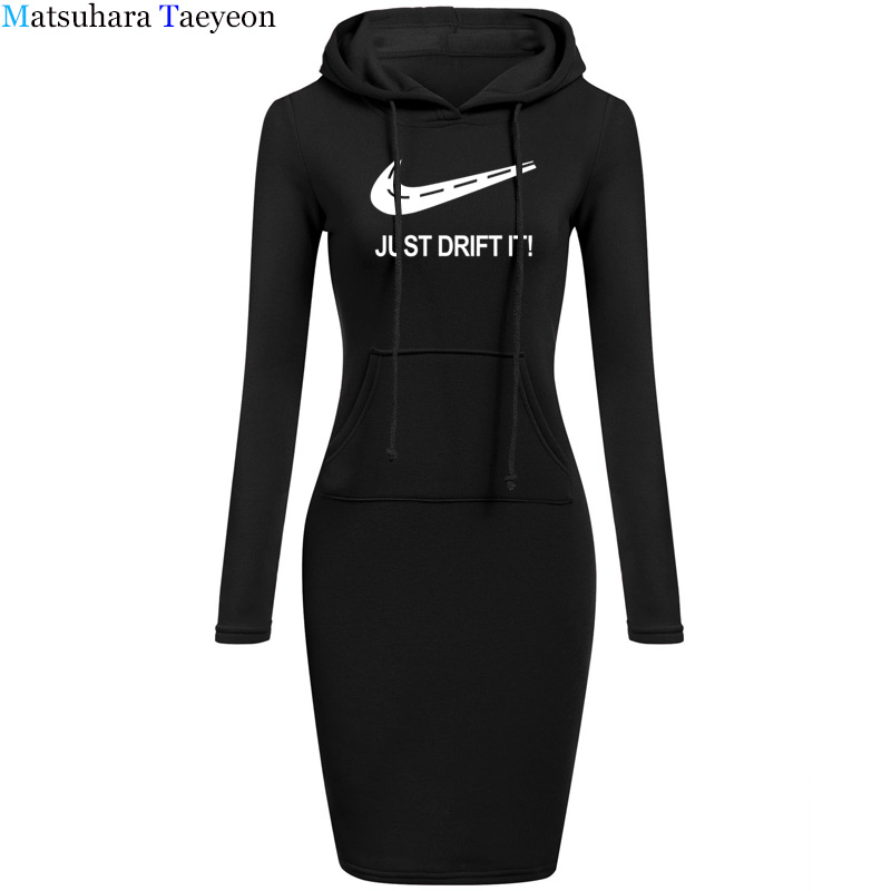 2018 Wome Style Just Drift It Print Dress Deep O Neck Sexy Dress Women Drift Camisetas Bodycon Dresses