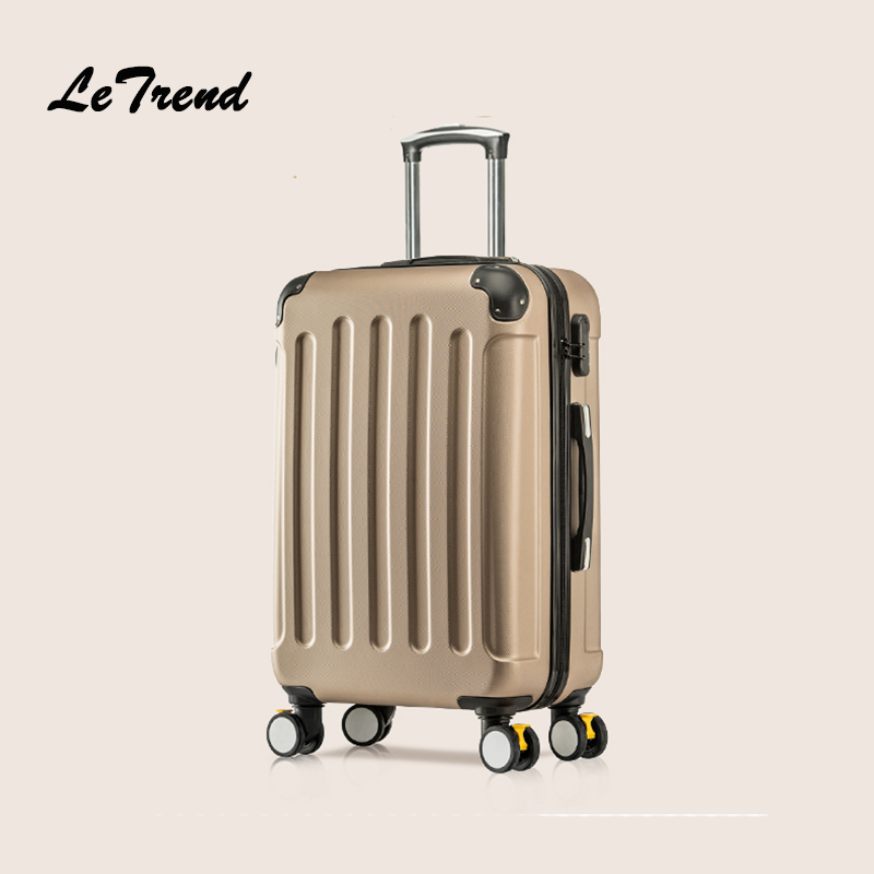 LeTrend Rolling Luggage Spinner Wheels Suitcases Trolley Men ABS+PC Travel bag Trunk Student Password box Women Carry On Luggage