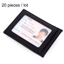 20pcs/lot RFID Blocking Thin Business Card Holder Genuine Leather Men Women Card Holder Brand Magic Buckle Credit Card Holder R4(China)