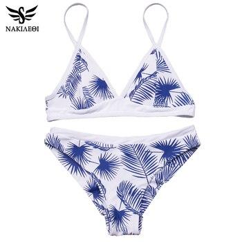 NAKIAEOI 2018 Sexy Bikini Women Swimsuit Push Up Swimwear Female Bandeau Brazilian Bikini Set Printed Beach Bathing Suit Biquini 3