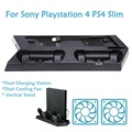 Alloyseed vertical de soporte del ventilador con doble carga estación de acoplamiento para sony playstation 4 ps4 consola slim