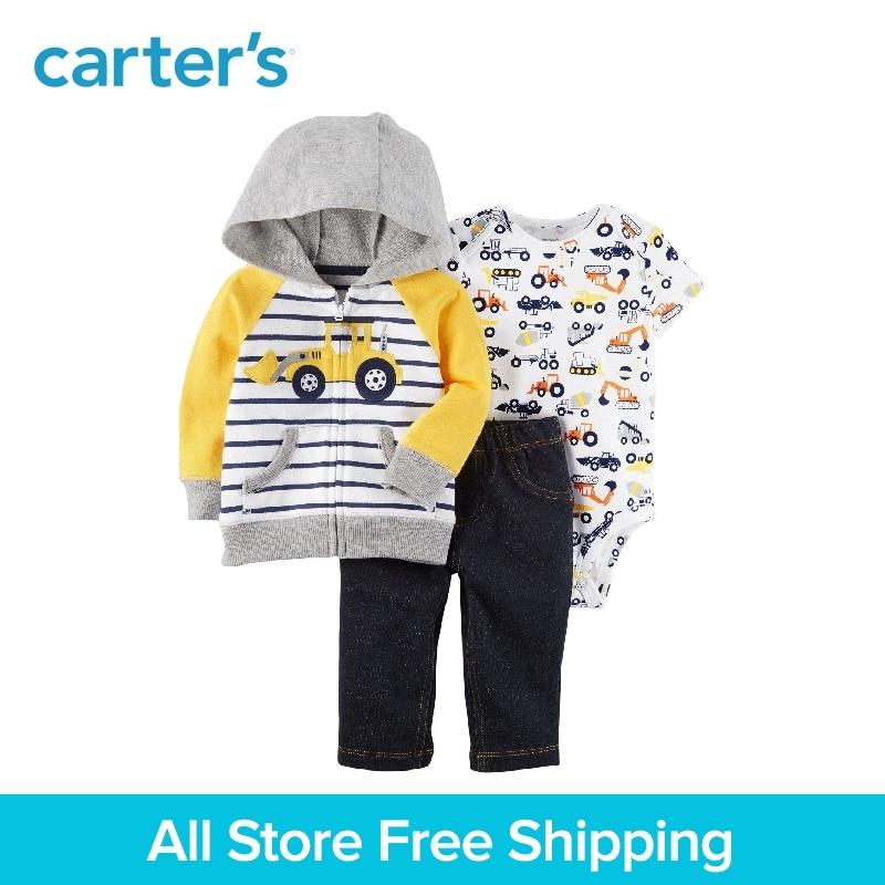 3pcs striped embroidered truck prints bodysuit denim pants Cardigan Sets Carter's baby boy spring autumn clothing sets 121I379 knot detail striped bodysuit