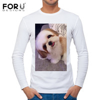 FORUDESIGNS Cute 3D Shih Tzu Dog Print T Shirt For Men Spring Autumn Male Long Sleeve