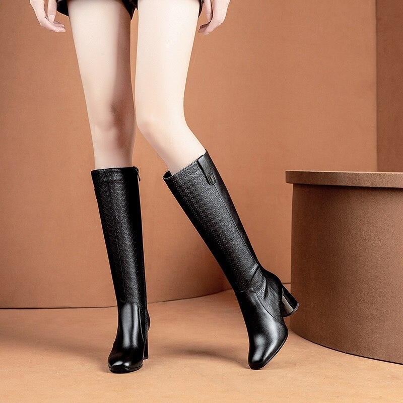 Cuadrado Nuevo Dedo Alto Zapatos Alta La Cálido Mujer Pie Redondo Del Calidad 2018 Botas Negro Black Invierno Cremallera Tacones Cuero Egonery Genuien Rodilla De 0x5Aqp