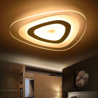 Modern 3 Color Adjustable Triangle Shaped Ultrathin LED E26 Surface Mount Ceiling Light Night Living Room