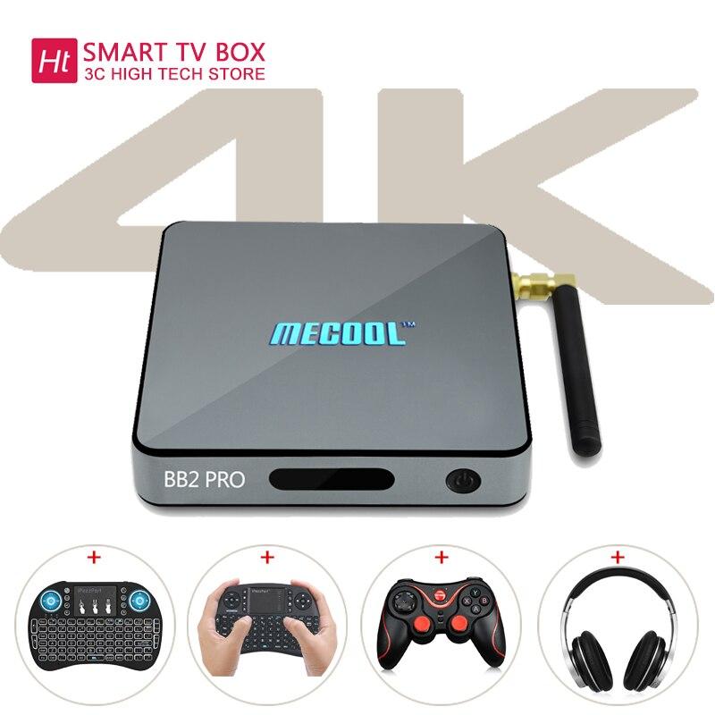 MECOOL BB2 PRO ТВ коробка с Android ТВ 7,1 3 ГБ DDR4 Оперативная память 16 ГБ Встроенная память Поддержка для 2,4 ГГц + 5,0 ГГц двухдиапазонный Wi-Fi комплект-топ ...