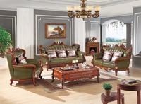 Luxury European Leather Sofa Set Living Room Furniture China Wooden Frame Sectional Sofa Green 1 2