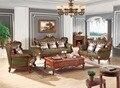 Sistema del sofá de cuero sofá de la sala Europeo de lujo de China marco de madera sofá seccional verde 1 + 2 + 3
