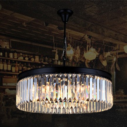 American Loft Retro Round Crystal Chandelier LED Light Fixtures For Living Dining Room Hanging Lamp Indoor Lighting Lamparas modern crystal chandelier hanging lighting birdcage chandeliers light for living room bedroom dining room restaurant decoration