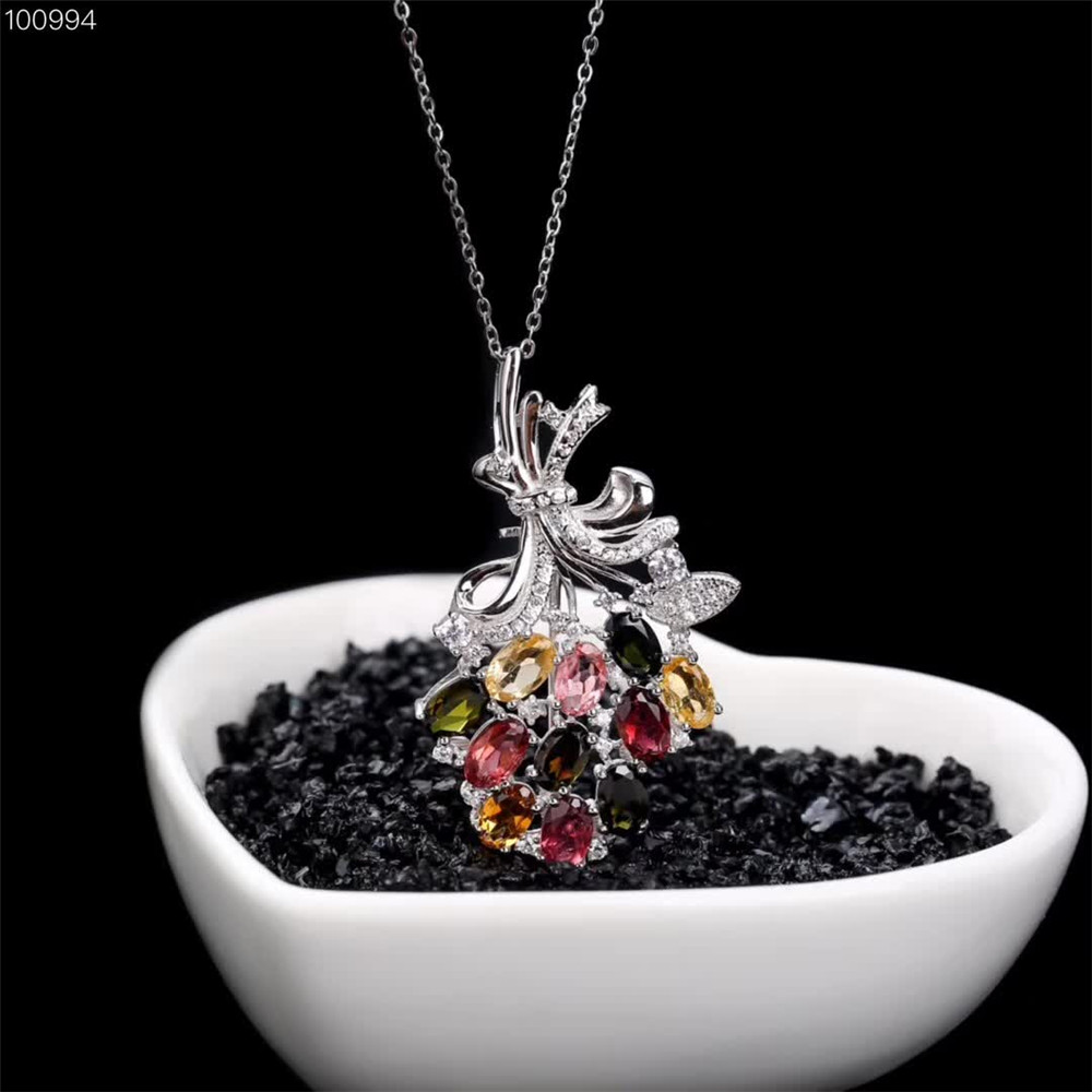 gemstone fine jewelry factory wholesale classic luxury 925 sterling silver natural tourmaline female necklace pendant in Pendants from Jewelry Accessories