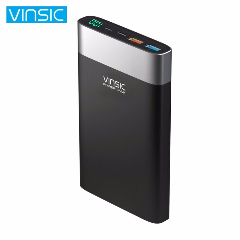 VINSIC Unique 20000MAH Power Bank Dual USB Type-C Battery Charger Power Supply Phone Charger for Smartphones Tablets
