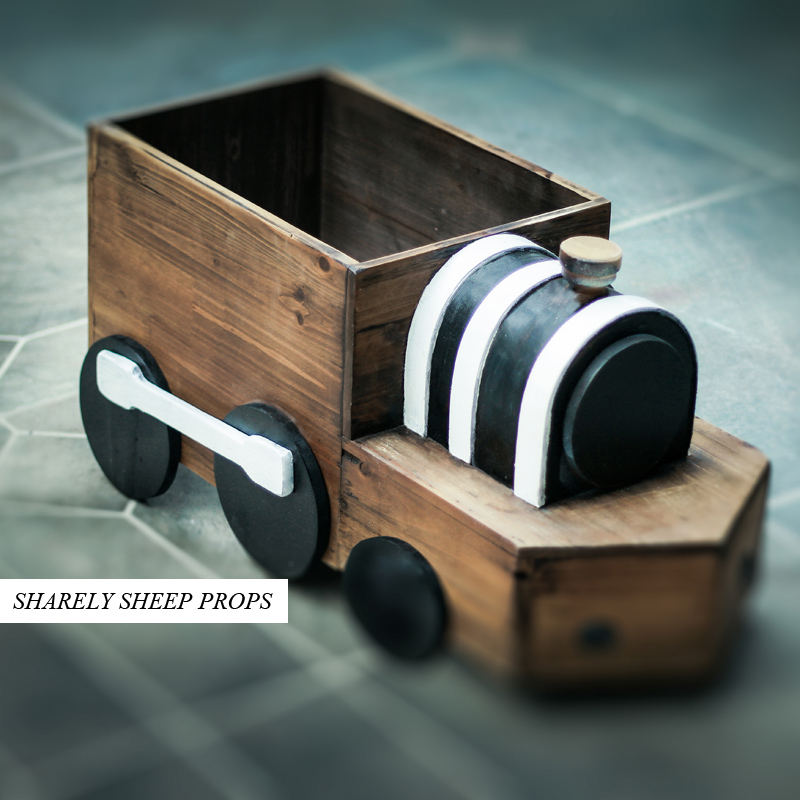 Newborn Wooden train Photography Basket Props Infant fotografia Accessories Baby Boy Girl Sport Theme Photo Shoot Prop bebe foto серьги единорог