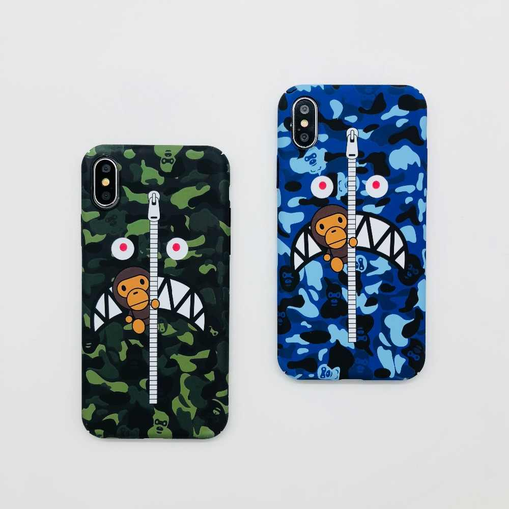 huge discount 808e8 84bb2 Hottest camouflage Brand Bape Shark cover for iPhone X XS XR MAX Case  Luxury Hard PC cover case for iPhone 6 6s 7 8 plus Fundas
