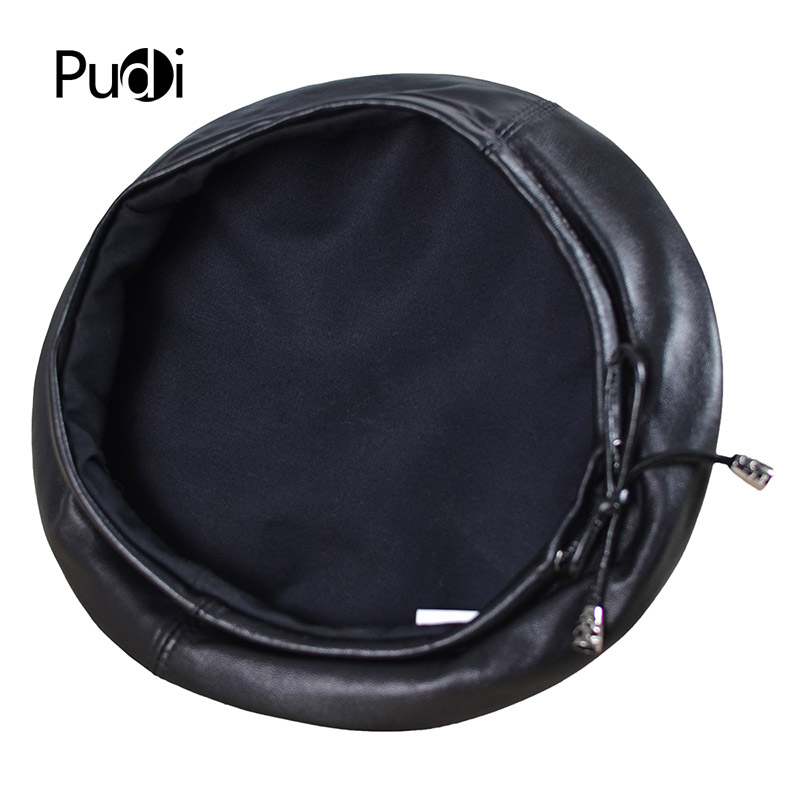 dcc13eb4767 Pudi HL197 The new man s leather beret hat for the spring style of high  quality sheep leather hat can adjust the rope design.