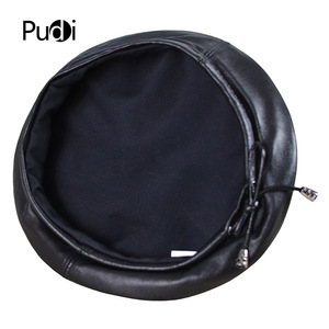 Image 5 - Pudi HL197 The new mans leather beret hat for the spring style of high quality sheep leather hat can adjust the rope design.