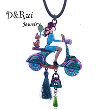 Vintage Doll Long Pendant Necklace Cool Girl Jewelry Fashion Wholesale Sweater Rope Chain Necklaces for Women Christmas Gifts