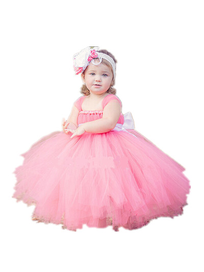 BABY WOW Pink Cheap Flower Girl Dresses for Weddings with Long Train Baby Girl Party Dress