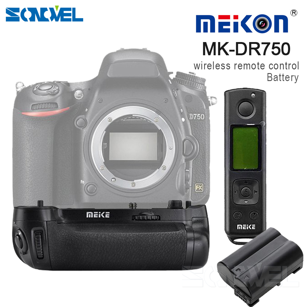 Meike MK-DR750 Battery handle Built-in 2.4g Wireless Control Battery Grip for Nikon D750 AS MB-D16 Wireless +EN-EL15 Battery meike mk d500 pro vertical battery grip built in 2 4ghz fsk remote control shooting for nikon d500 camera as mb d17
