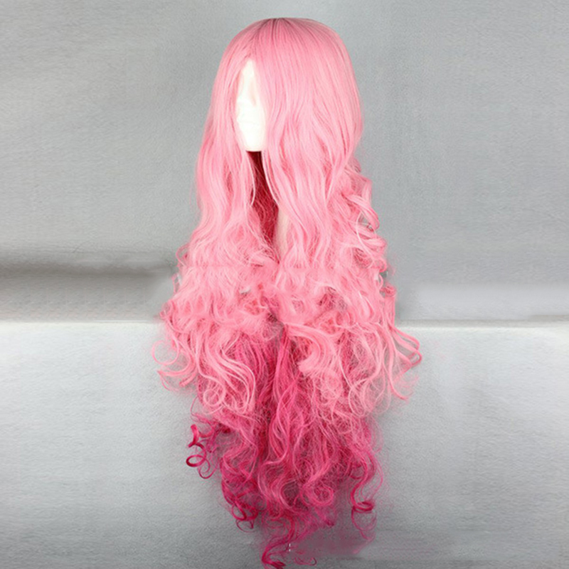 HAIRJOY Synthetic Hair Tsukimiya Ringo in Prince of Song  Cosplay Wig  Red Pink Ombre Curly Wigs 2