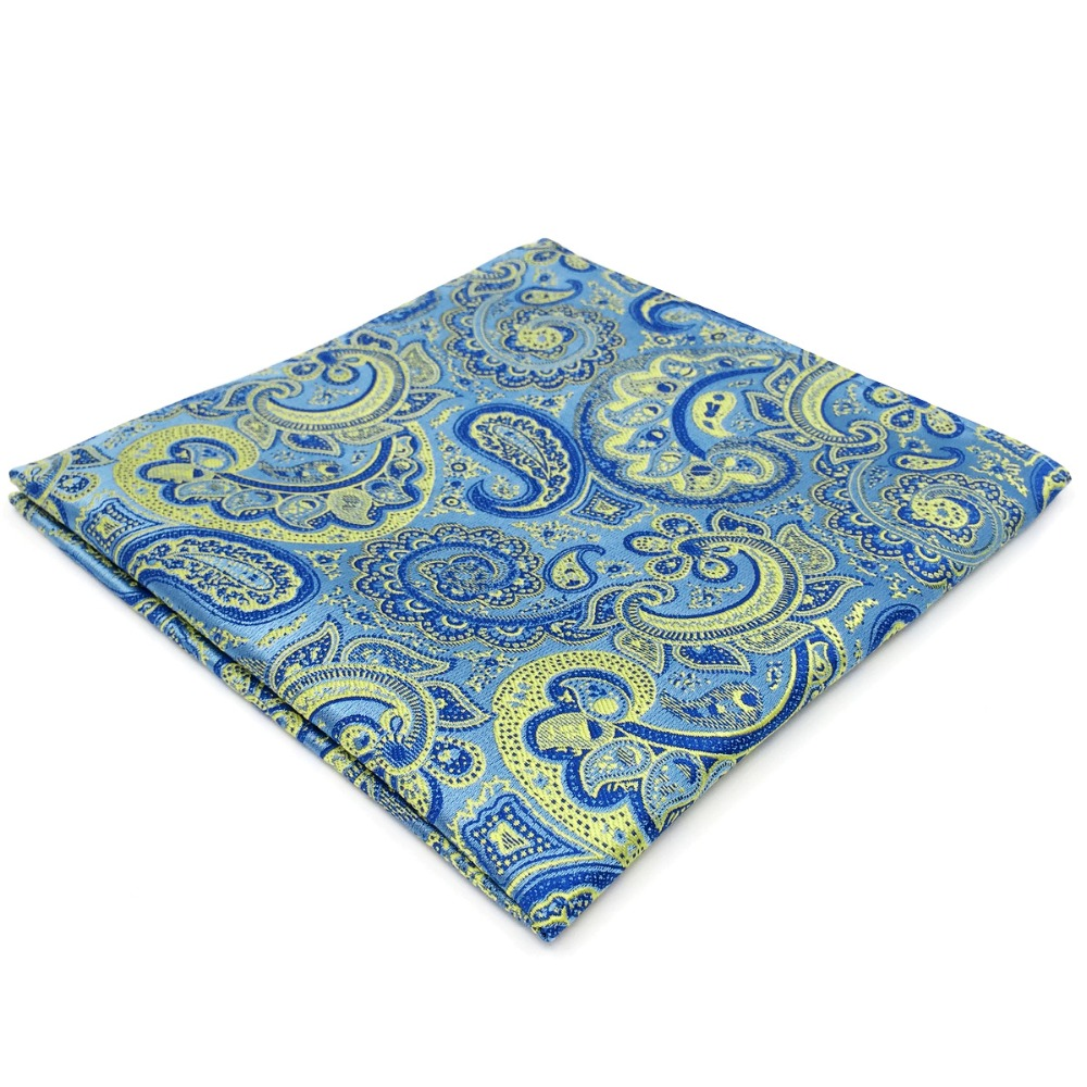 EH8 Paisley Mens Pocket Square Blue Yellow Handkerchief Classic Silk