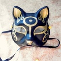 Half Face Hand-Painted Japanese Style Fox Mask Kitsune Mononoke Pattern Cosplay Masquerade for Party Halloween A2