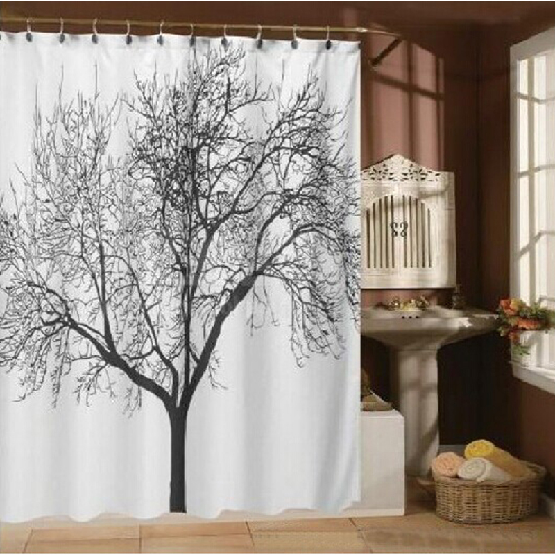 Waterproof Bathroom Curtains Big Black Tree Scenery 100% Polyester Home Shower Bath Curtain Home Bathroom Decorative curtain 3