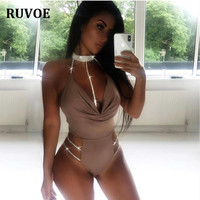 New Sexy Hollow Out Bodysuit XL Women Halter Crystal Necklace Bodysuit Summer 2019 New Sleeveless Bodycon Jumpsuit