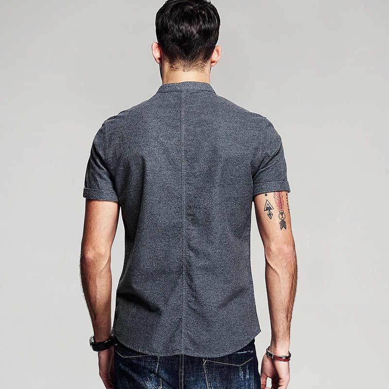 KUEGOU 2019 夏綿 100% 無地男性スリムフィット半袖男性ブランドのブラウスプラスサイズ服 5859