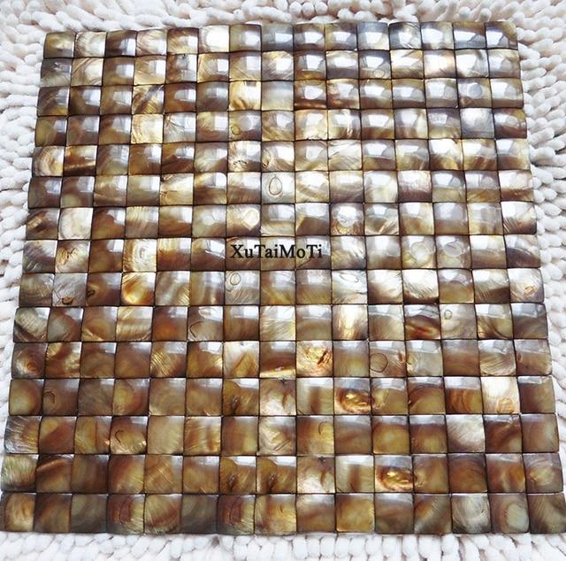 Stücke Braun Konvexen Shell Mosaik Fliesen Perlmutt Bad Küche - Mosaik fliesen braun gold