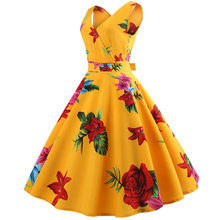 5e785253d6da Women Summer Dresses 2019 Fashion V-neck 50s 60s Robe Vintage Pin Up Dress  Big Swing Floral Printed Retro Rockabilly Dress