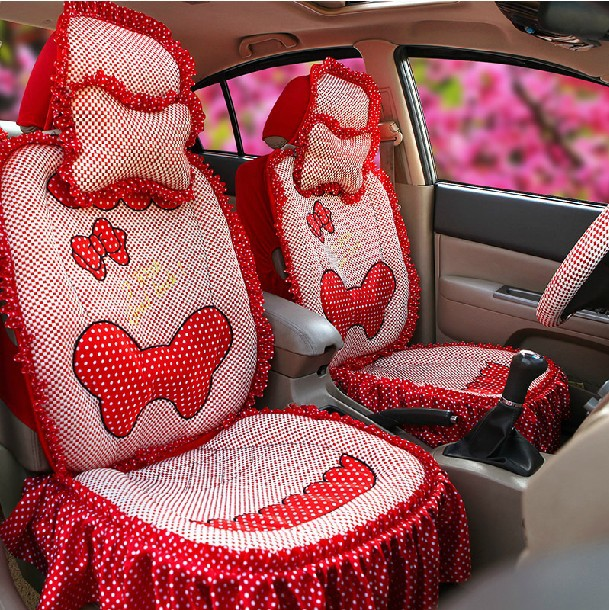 Womans Girls Cute Fashion Lace Butterfly Tie Pink Universal Car Seat Cover Set In Automobiles Covers From Motorcycles On Aliexpress