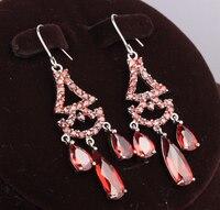 Boska Bardzo Ładne Oxblood Red Garnet Gruszka Ograniczona 925 Sterling Silver Trendy Moda Biżuteria Wypadania Dangle Kolczyki S5147