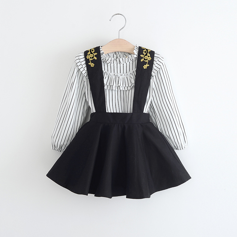 2019 Spring Women Units Clothes Full Sleeve Striped High Shirt + Trend Ruffle Strap Costume Black Youngsters Garments Woman 2 pcs Set Clothes Units, Low-cost Clothes Units, 2019 Spring...