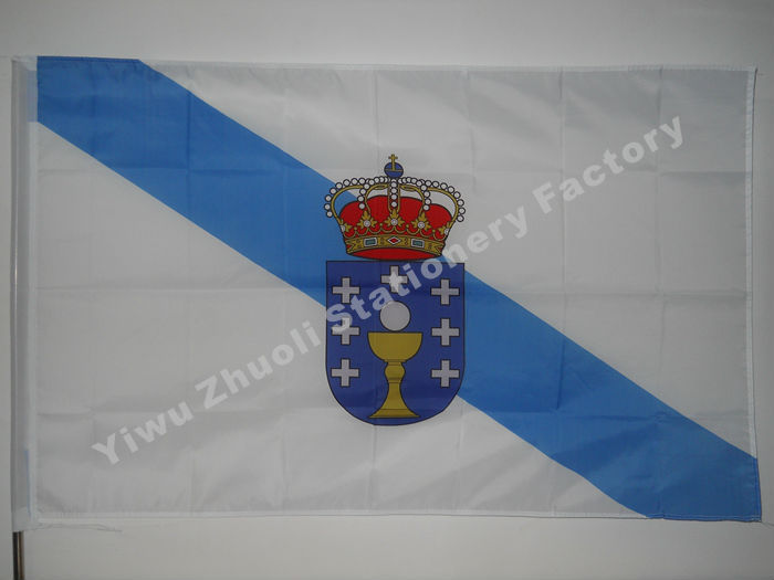 Galicia Flag 150X90cm (3x5FT) 120g 100D Polyester Double Stitched High Quality Free Shipping Spain Autonomous Regions