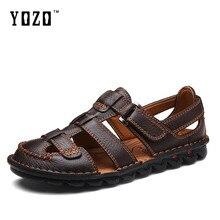 Мода Мужчины Сандалии Неподдельной Кожи Мужские Сандалии Летние Дышащая мужская Пляжная Обувь Вьетнамки Мужчины Случайные Тапочки