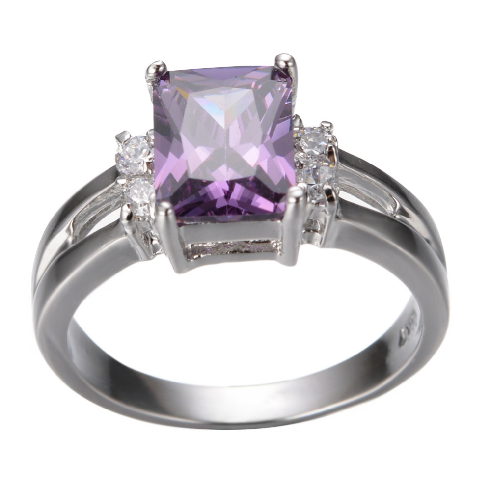 New Square Design Fashion Purple Female Ring White Gold Filled Jewelry  Vintage Engagement Wedding Rings For Women RW0254 In Rings From Jewelry U0026  Accessories ...