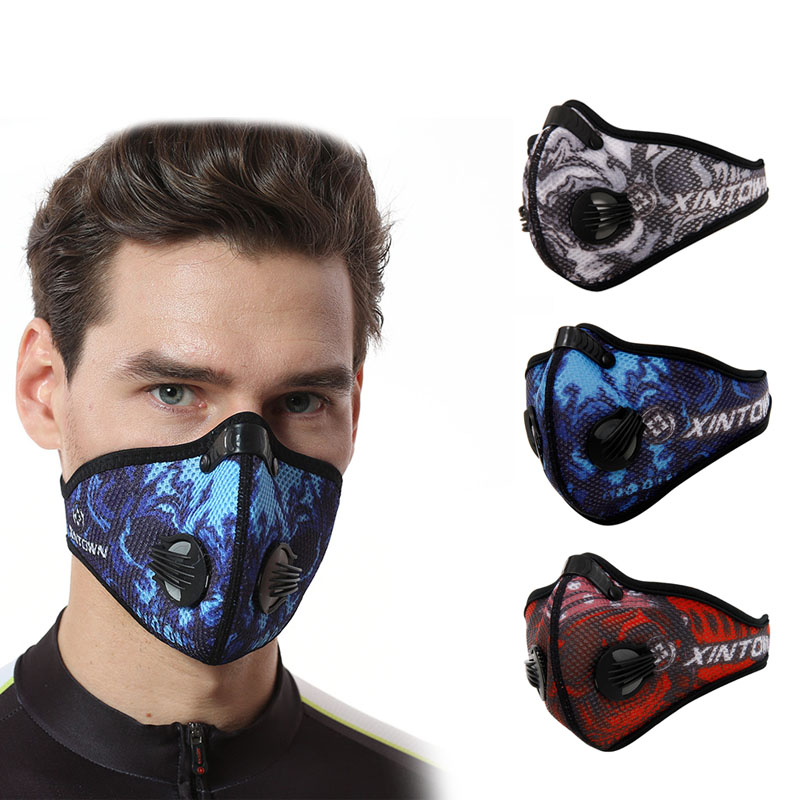Cycling Mask Dustproof Windproof Mesh Breathable Activated Carbon Masks For Outdoor Sport Riding Bicycle Running LCC outdoor cycling half face mask dust windproof anti pollen allergy activated carbon masks filter sports riding running lcc