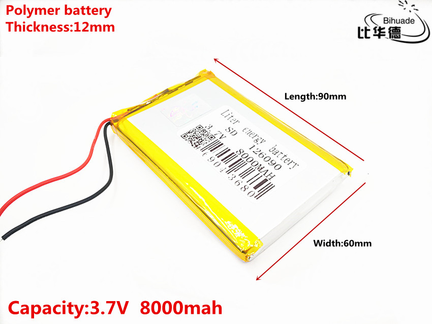 <font><b>3.7V</b></font> <font><b>8000mAh</b></font> 126090 Lithium Polymer Li-Po li ion Rechargeable Battery Lipo cells For Recorder Devices Mobile Notebook GPS image