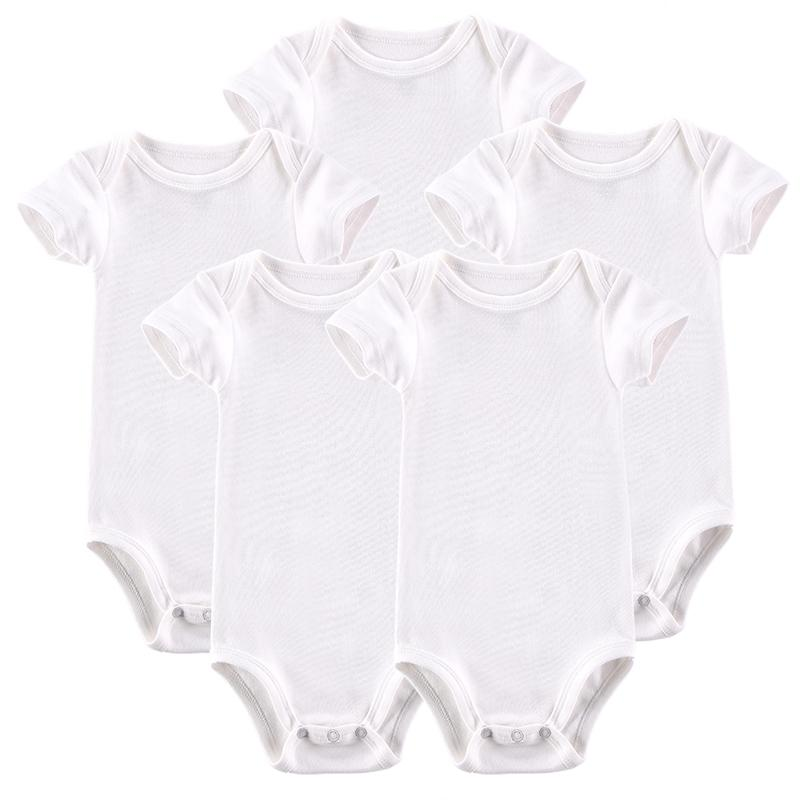 Mother Nest White 100% Cotton Baby Bodysuits 5 st / lot Newborn - Babykläder