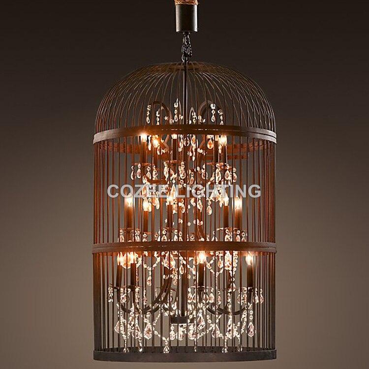 Modern Crystal Chandelier Hanging Lighting Birdcage Chandeliers Light for Living Room Bedroom Dining Room Restaurant Decoration