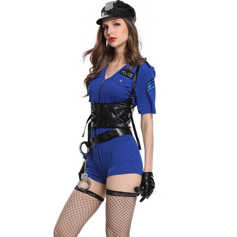 d781a9dbad0c9 Sexy Women Hottie Police Costume Outfits 3 Pcs Ladies Sexy Christmas Party  Wear Politie Kostuum Blue Sexy Cop Cosplay Costumes